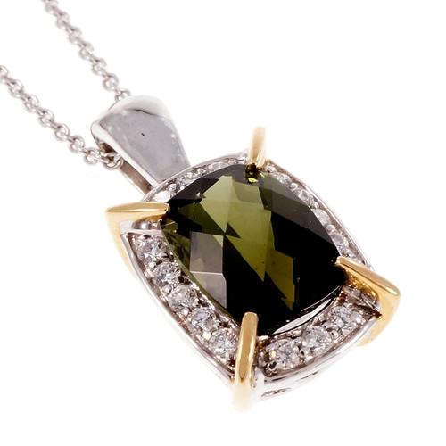 Green Tourmaline Lorenzo Cushion Halo Diamond Pendant 18k White Gold