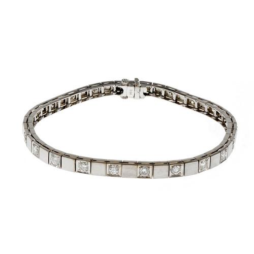Vintage Diamond Box Link Diamond Bracelet 14k White Gold