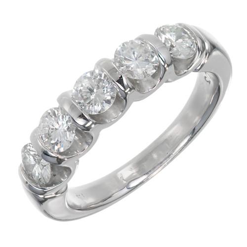 """U"" Shaped Bar Set Diamond Band Ring 14k White Gold"