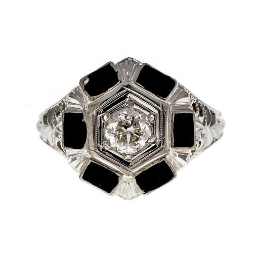 Art Deco 1930 Black Enamel Diamond Ring 18k White Gold