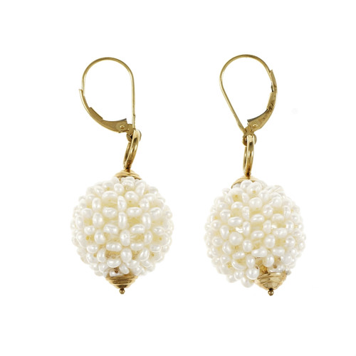 Estate Chinese Freshwater Pearl Ball Dangle Earrings 14k Yellow Gold