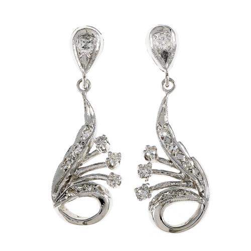Vintage 1950 Swirl Diamond Dangle Earrings 14k White Gold