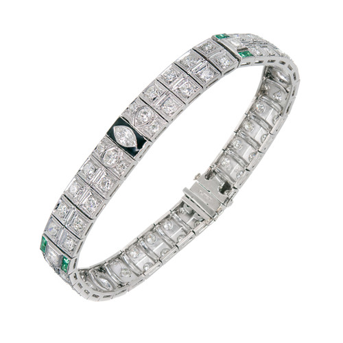Vintage Art Deco Bracelet Emerald Diamond Black Enamel Platinum