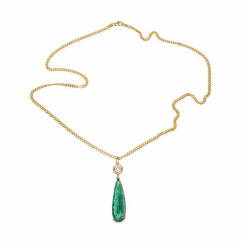 10.09ct Pear Natural GIA Emerald Diamond Pendant 18k Yellow Gold