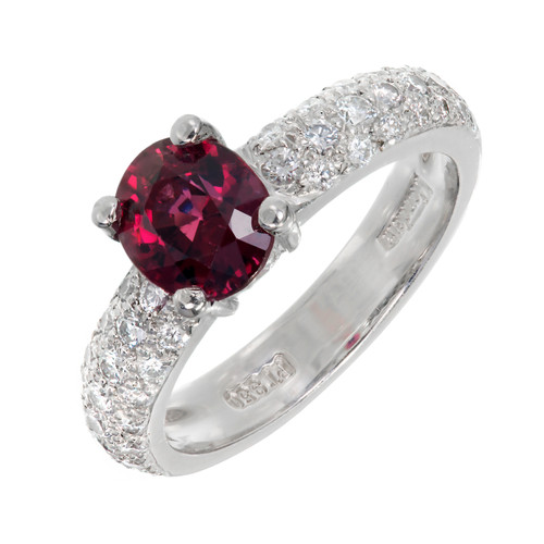 Estate Natural GIA Red Spinel Mondera Ring Platinum Diamond