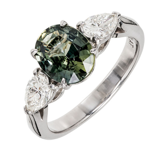 Rare Grey Green Certified Natural Oval Sapphire Diamond Engagement Ring Platinum
