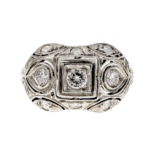Vintage 1940 Transitional Diamond Dome Ring 18k White Gold