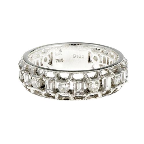 Open Work Diamond Wedding Band Ring Emerald Cut & Round 18k White Gold