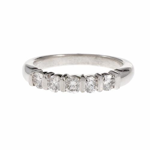 Peter Suchy Bar Set 5 Diamond Wedding Band Ring Platinum