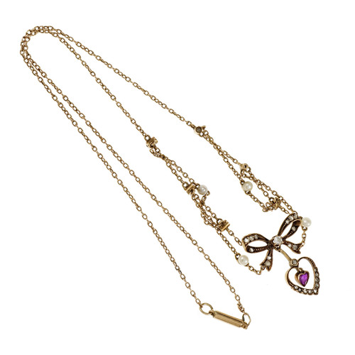 Victorian Natural GIA Heart Ruby Necklace 14k Gold Pearl Rose Cut Diamond
