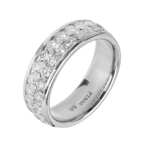 2 Row Diamond Wedding Band Ring Platinum 1.20cts 6mm Wide