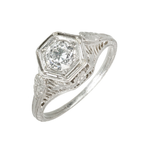 .52 Carat Diamond Art Deco Filigree Platinum Engagement Ring
