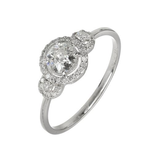 EGL Certified .42 Carat Three Stone Diamond Halo Gold Engagement Ring