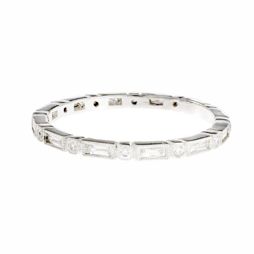 Peter Suchy French Cut Baguette Round Diamond Eternity Band Ring Platinum