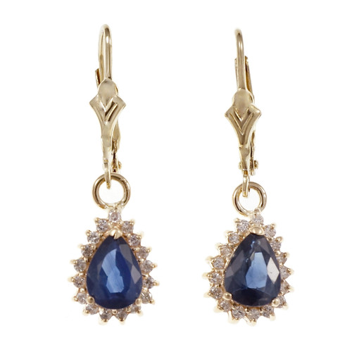Estate Pear Sapphire Diamond Halo Dangle Earrings 14k Yellow Gold