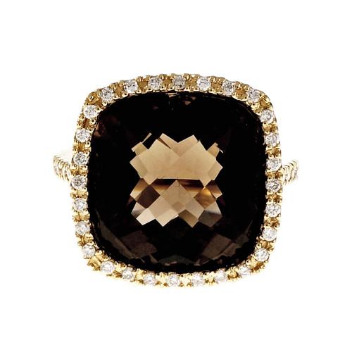 Estate Cushion Diamond Halo Smoky Quartz Ring 14k Yellow Gold