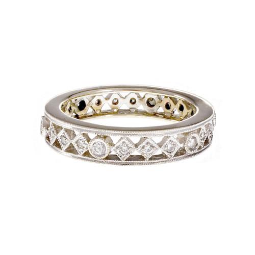 Estate Open Work Diamond Eternity Band Ring
