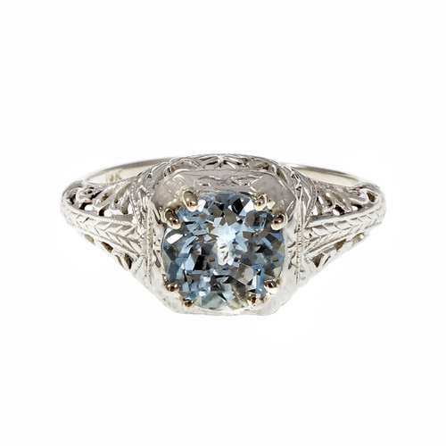 Art Deco Filigree Aqua Engagement Ring 18k White Gold