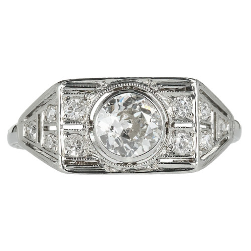 Edwardian Art Deco .53ct Old European Cut Diamond White Gold Engagement Ring
