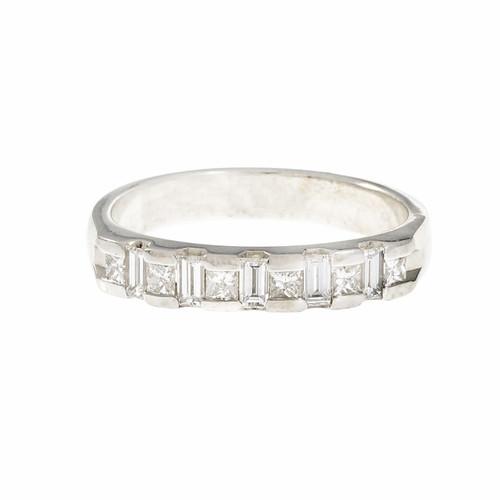 Princess Baguette Diamond Wedding Band Ring 14k White Gold