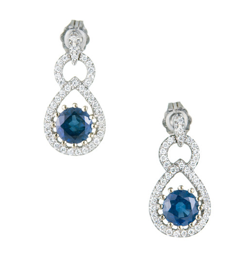 Natural No Heat GIA Sapphire Earrings 14k White Gold Diamond