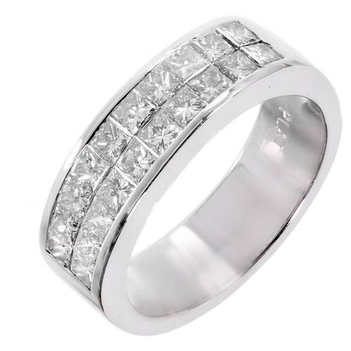 Princess Cut 2 Row Diamond Wedding Band Ring Platinum