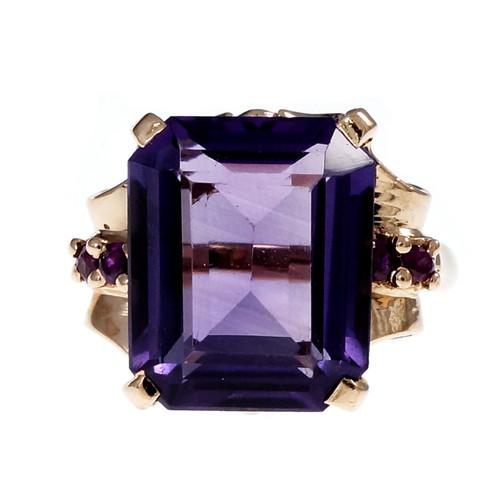 Vintage Retro 1940 Pink Gold Amethyst Ruby Ring 14k