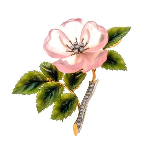 Rose Quartz Jade Diamond Gold Flower Brooch