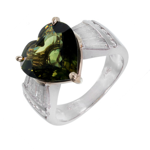 4.98 Carat Green Sapphire Heart Shape Diamond Platinum Gold Engagement Ring