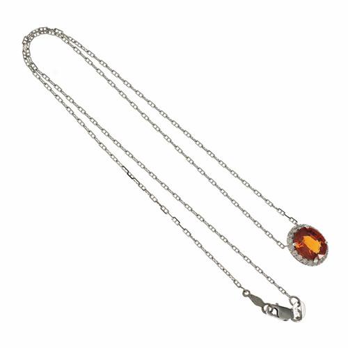 Bright Orange Spessartite Garnet Pendant Diamond Halo