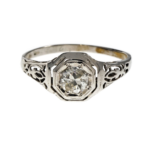 Vintage Art Deco Filigree Diamond Engagement Ring 14k White Gold