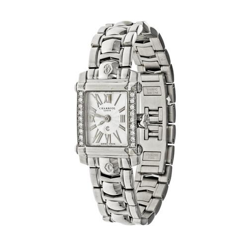 Charriol Columbus Ladies Steel Wrist Watch Fancy Dial Diamond Bezel