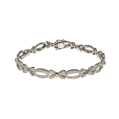 Estate Hinged Link Bead Set Diamond Bracelet 14k White Gold