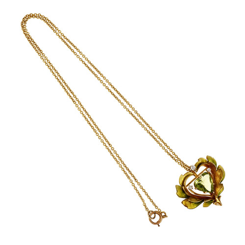 Antique 1900 Krementz Enamel Peridot Pin Pendant 14k Gold