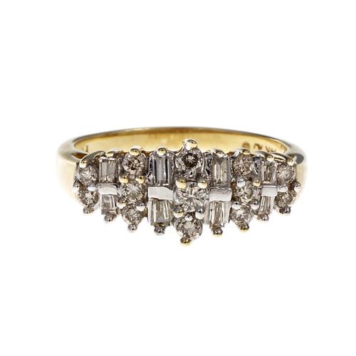 Estate Round & Baguette Diamond Ring 14k Yellow Gold
