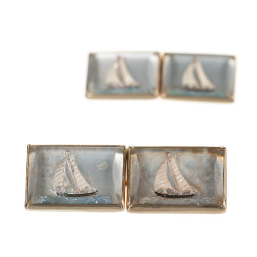Double Sided Sailboat Reverse Carved Crystal Yellow Gold Cufflinks