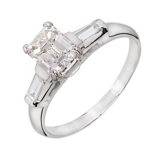 Vintage 1940 Emerald Cut Diamond Engagement Ring Platinum Baguette Accents