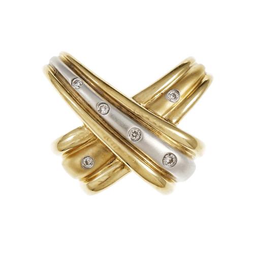 "Estate Diamond ""X"" Slide Pendant Necklace 14k Gold"