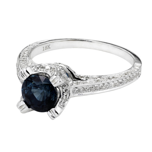 Fine Round Sapphire Engagement Ring Micro Pavé Diamond 18k White Gold