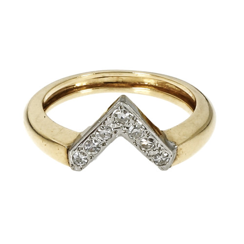 "Vintage 1950 ""V"" Shape Diamond Ring 14k Yellow & White Gold"