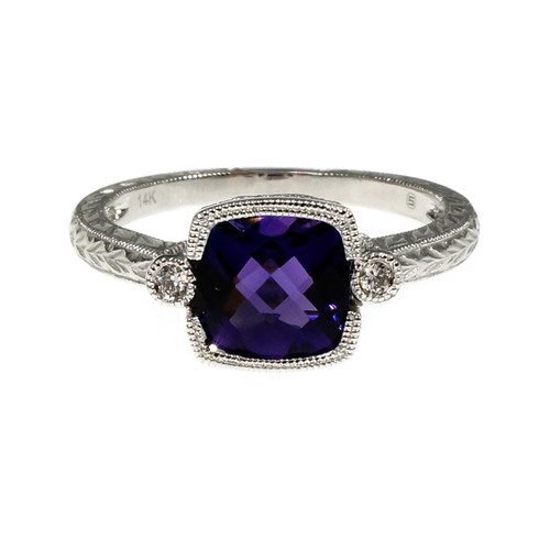 Cushion Checkerboard Purple Amethyst Ring Diamond Accents 14k White Gold
