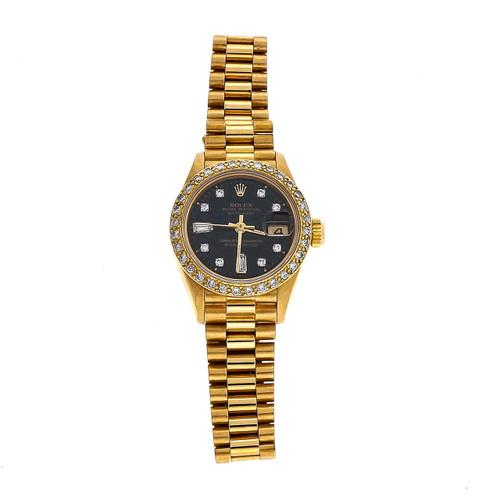 Rolex Ladies 18k Gold President 69178 Black Diamond Dial Diamond Bezel