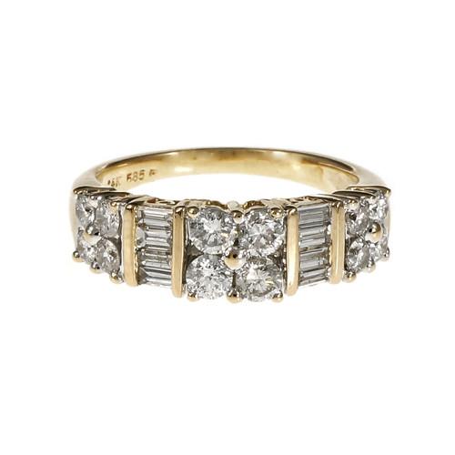 Diamond Band Ring Round Full Cut & Baguette Diamonds 14k Yellow Gold
