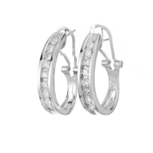 .65 Carat Diamond White Gold Hoop Earrings
