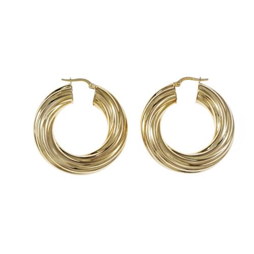 Estate Unoaerre Round Hoop Earrings Italian 14k Yellow Gold Twist Design