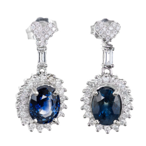 Certified Sapphire Diamond Dangle Earrings 14k White Gold