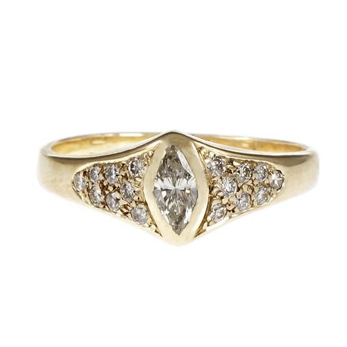 Marquise Diamond Ring Diamond Pavé Set Sides 14k Yellow Gold