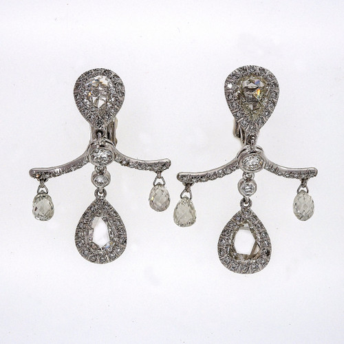 Estate Fred Leighton Rose Cut Briolette Diamond Platinum Dangle Earrings 5.80cts
