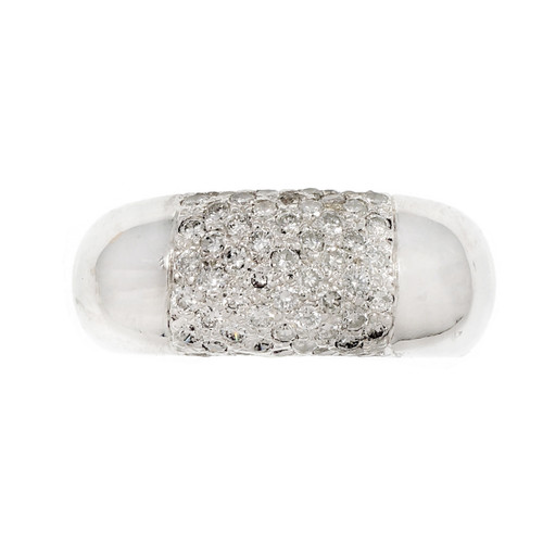 Estate 1960 Dome Ring Pavé Diamond 14k White Gold