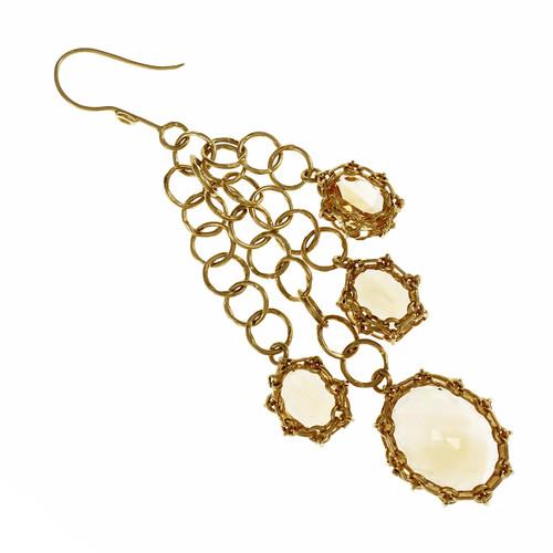 Estate Handmade Citrine Dangle Earrings 18k Yellow Gold